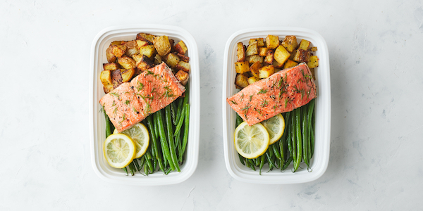 pescatarian meal prep- salmon and potatoes