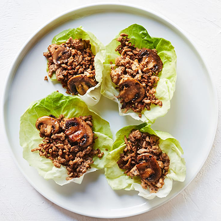 plate of turkey lettuce wraps | game day appetizers
