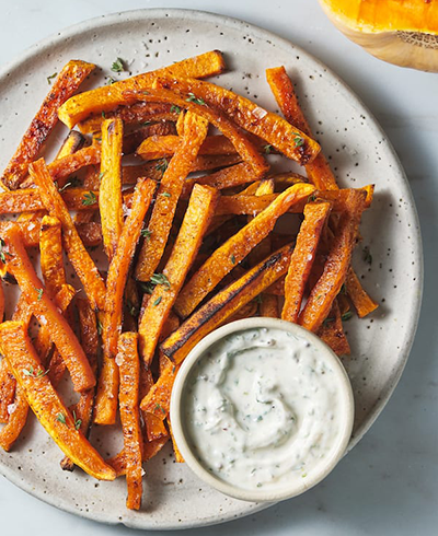 plate of butternut squash french fries with ranch | game day appetizers