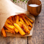 Butternut squash fries with a side of dipping sauce