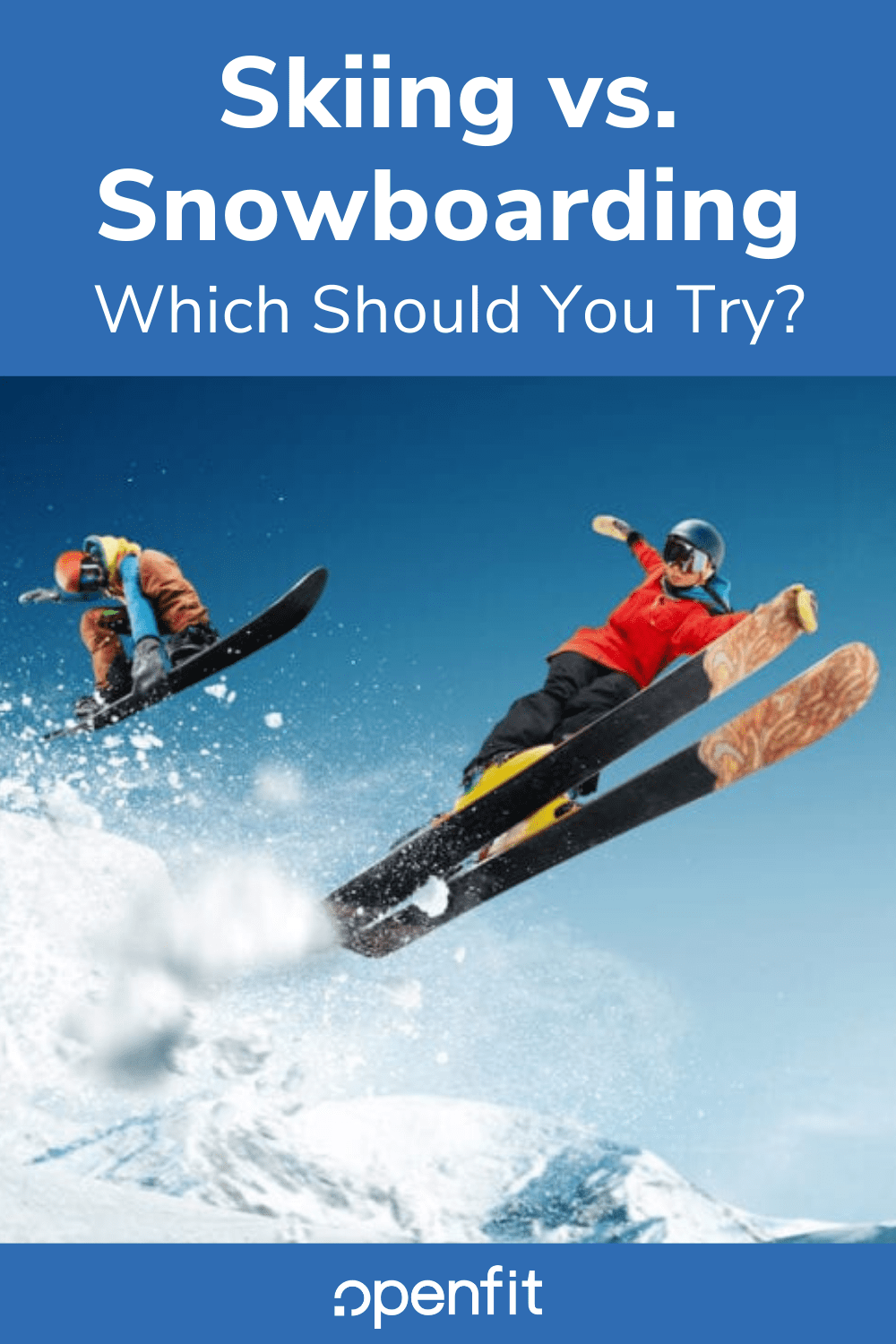 skiing vs snowboarding pin image