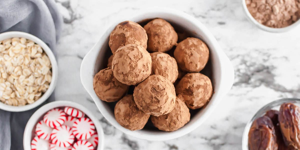 chocolate protein peppermint balls