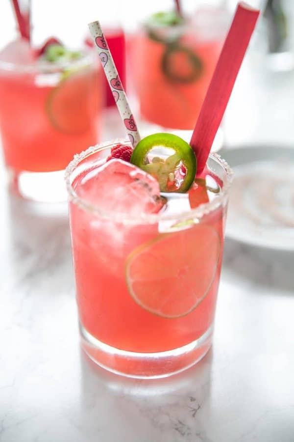valentines cocktails- rhubarb margarita
