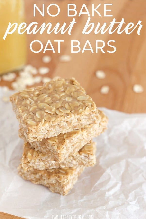 easy healthy snacks - peanut butter oat bars
