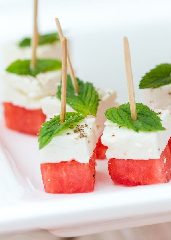 easy healthy snacks - watermelon feta skewers