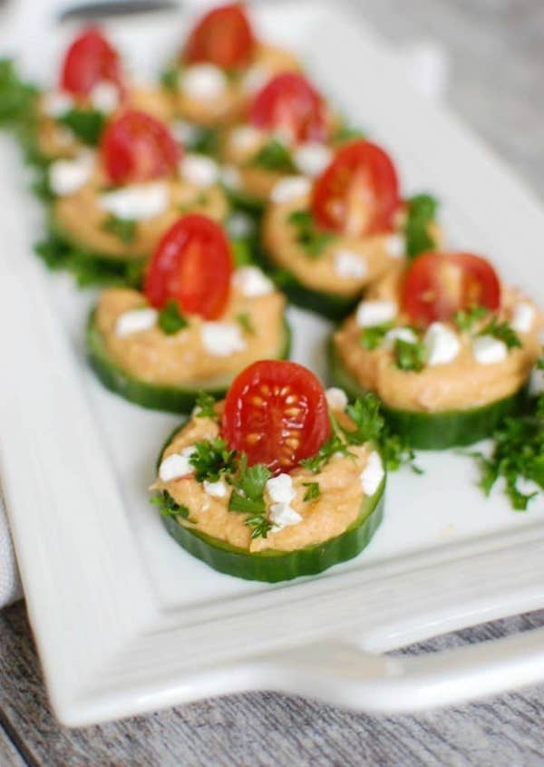 healthy easy snacks - cucumber hummus bites