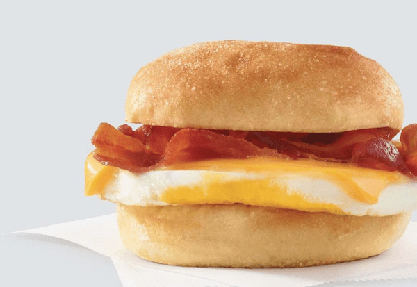 wendys breakfast - bacon egg and cheese