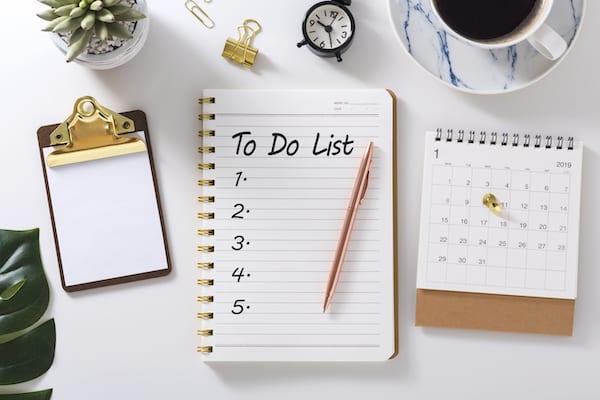 to do list - list on table