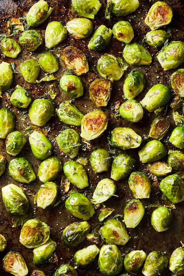 roasted brussels sprouts - overhead shot of brussels