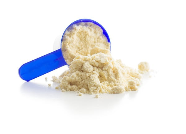 whey vs plant protein - scoop of protein powder