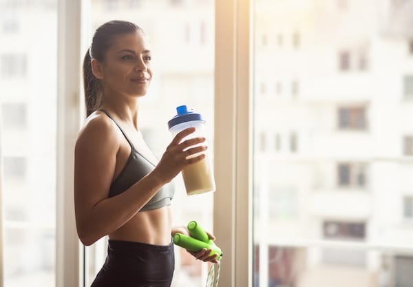 pea protein vs soy protein - drinking protein shake
