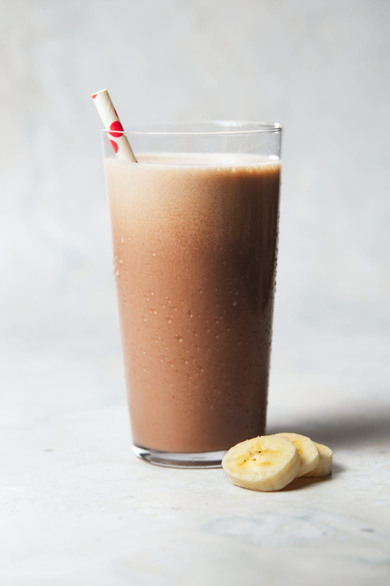 chocolate banana protein shake - chocolate banana shake in glass