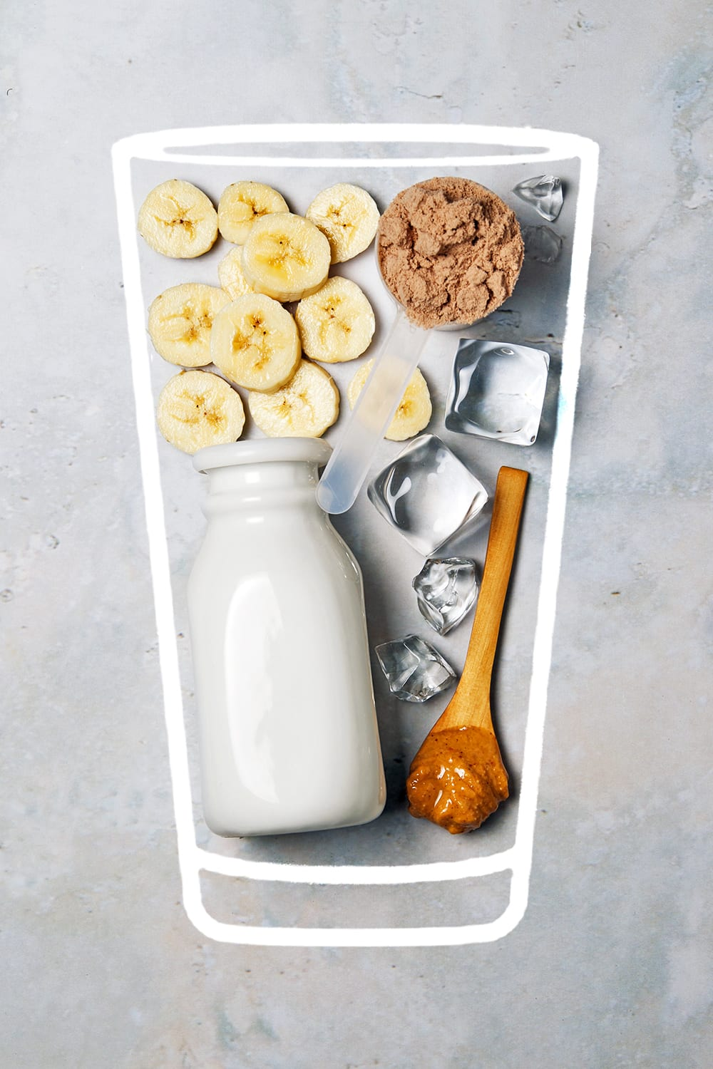 peanut butter banana shake - ingredients