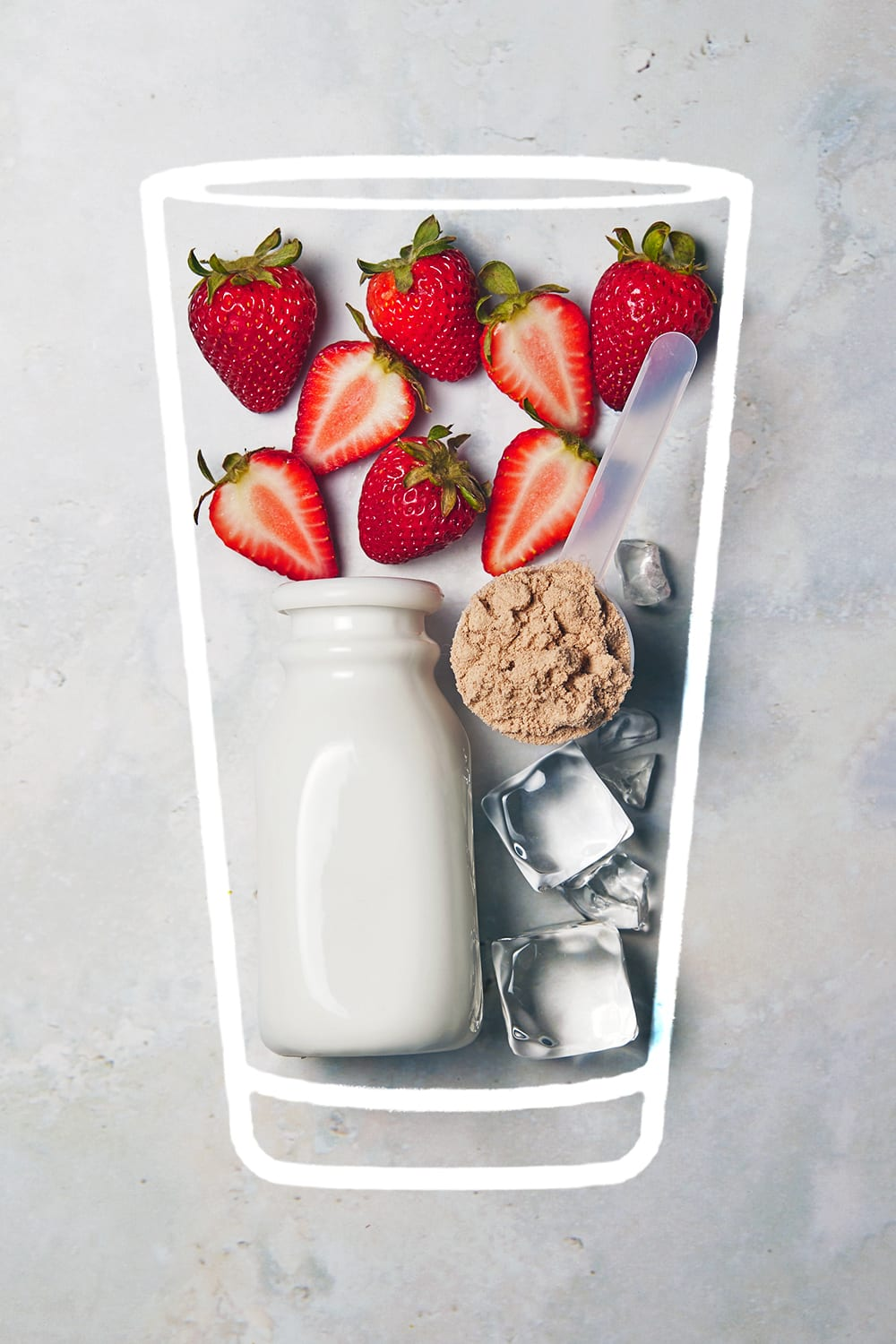 chocolate strawberry protein shake - ingredients