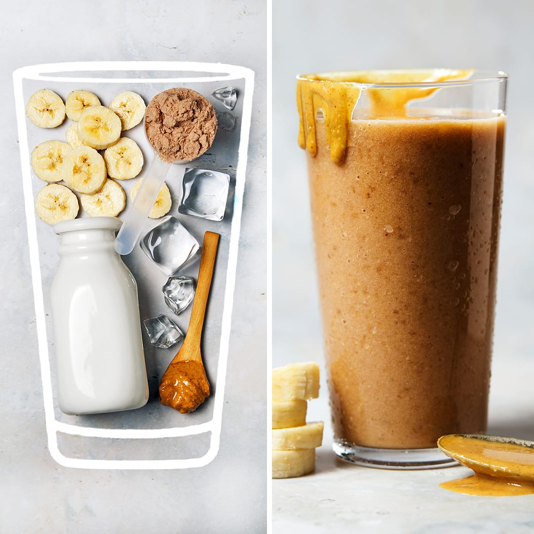 Chocolate Peanut Butter Banana Shake - Sugar Free 3 Recipes