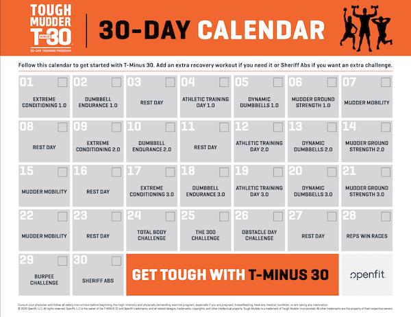 t minus 30 workout calendars - get fit at home challenge calendar