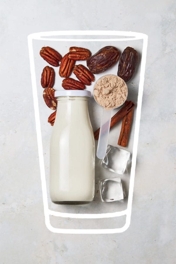 chocolate pecan pie shake - ingredients in glass