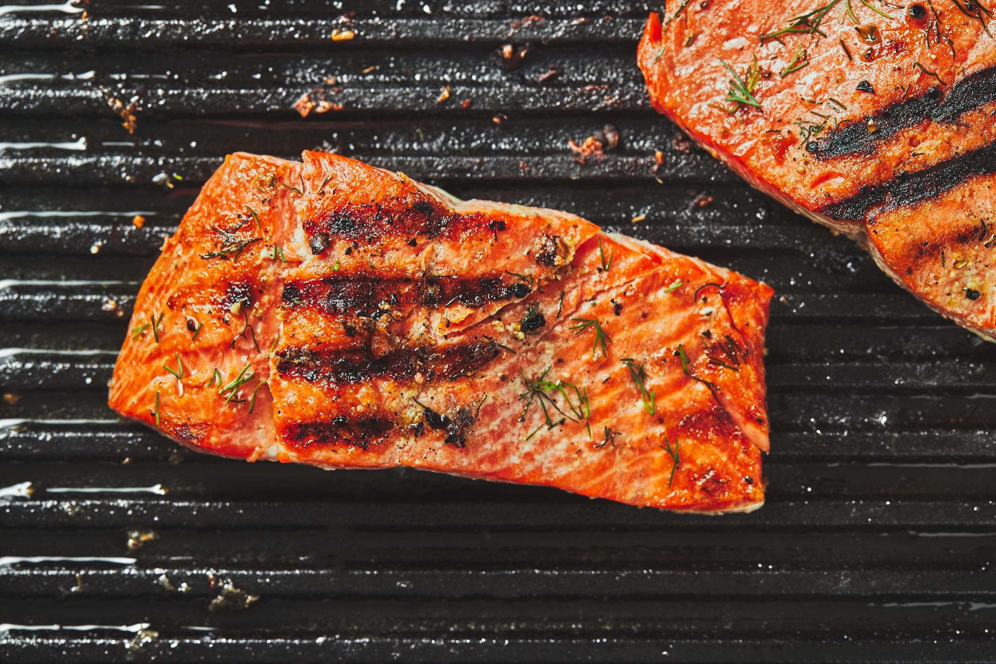 how to cook salmon - grilled salmon on pan