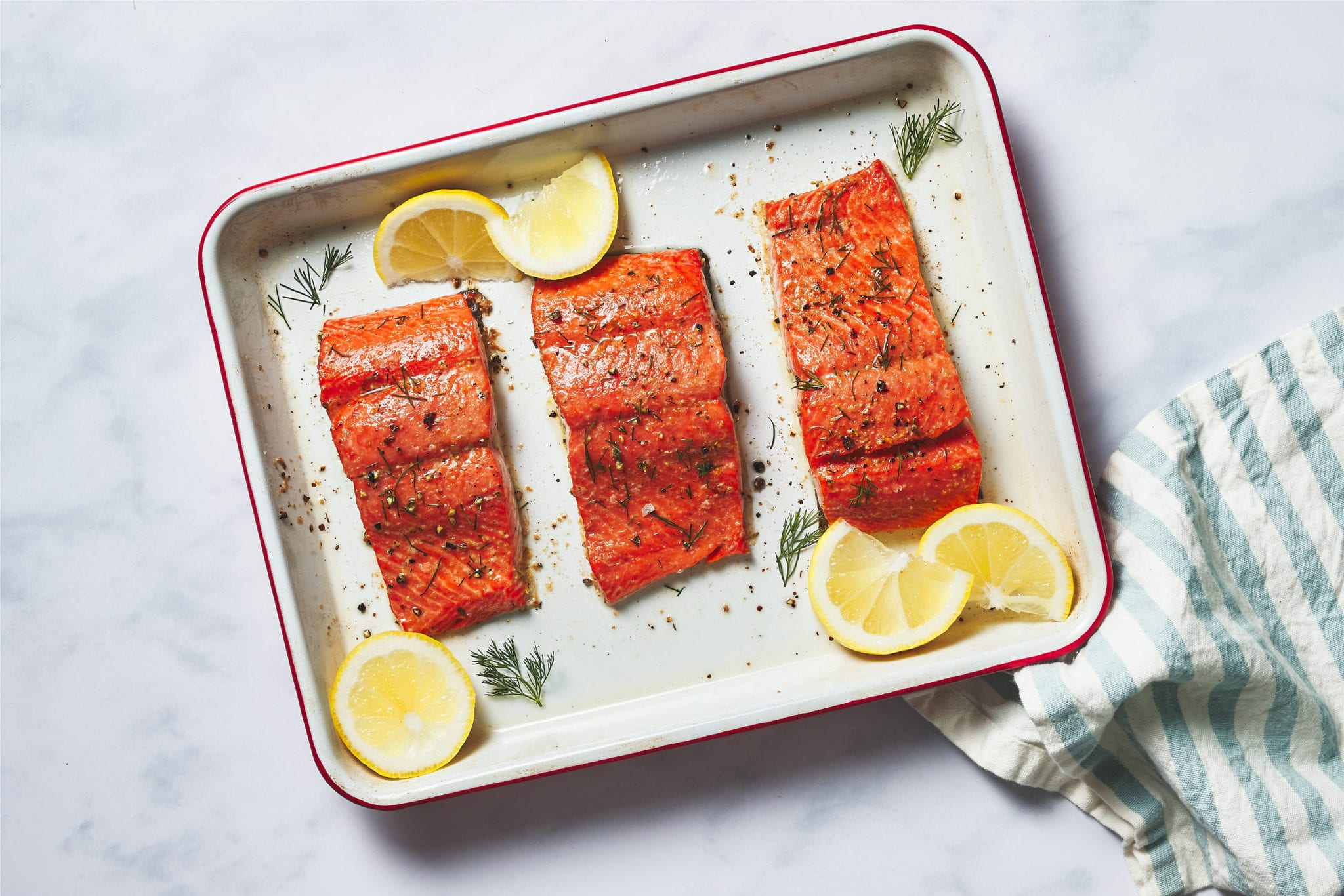 how to cook salmon - baked salmon on sheet