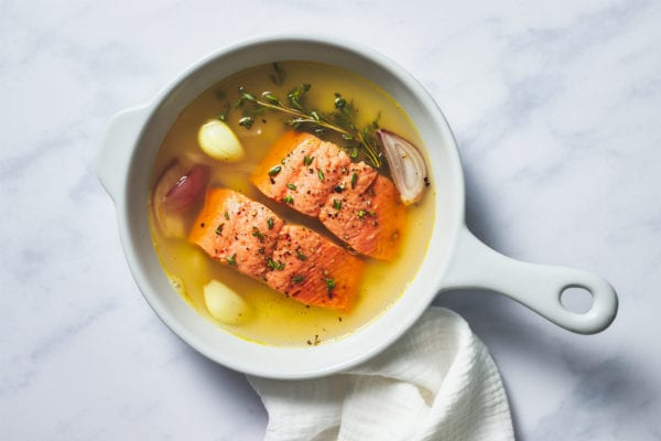 how to cook salmon - poached salmon in pot