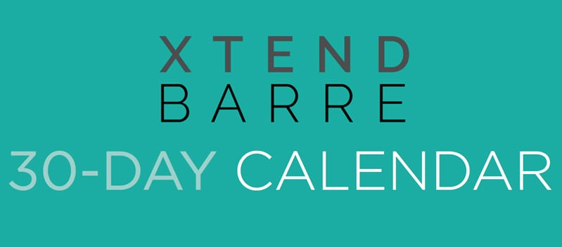 Xtend Barre 30-day calendar