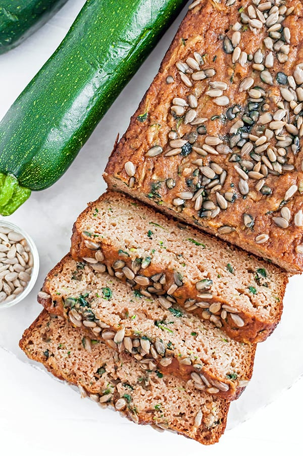gluten free zucchini bread - sliced loaf