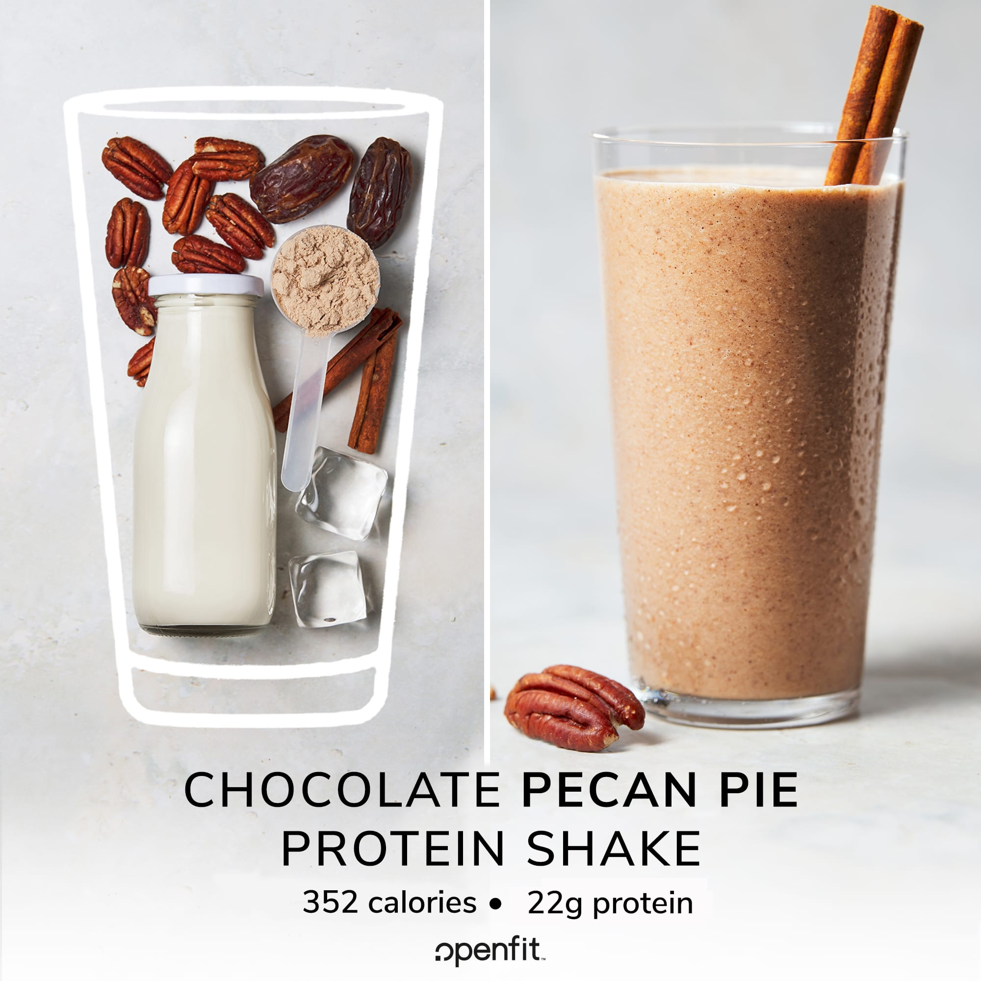 chocolate pecan pie shake - before and after image