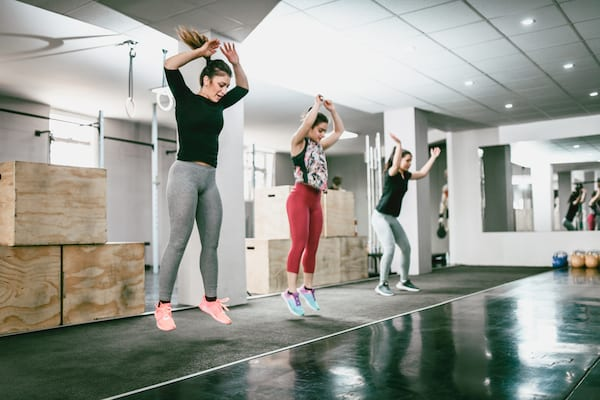 fitness test - women jumping in gym