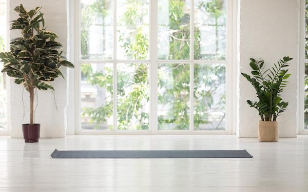 home yoga studio - yoga mat at home