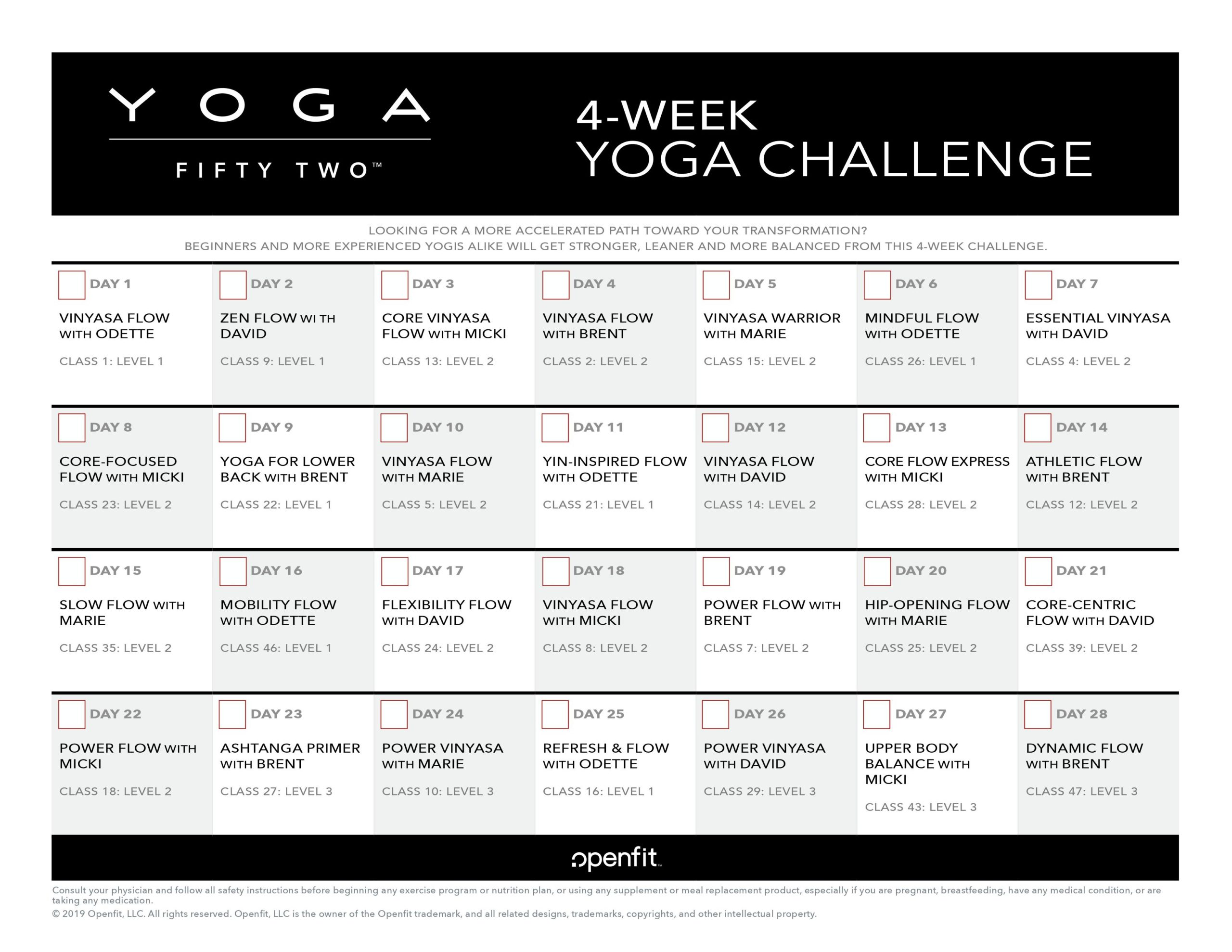 4 week challenge | yoga 52 program calendar