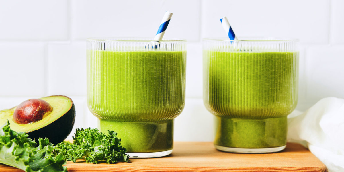 chocolate green shake - shakes in glass with greens