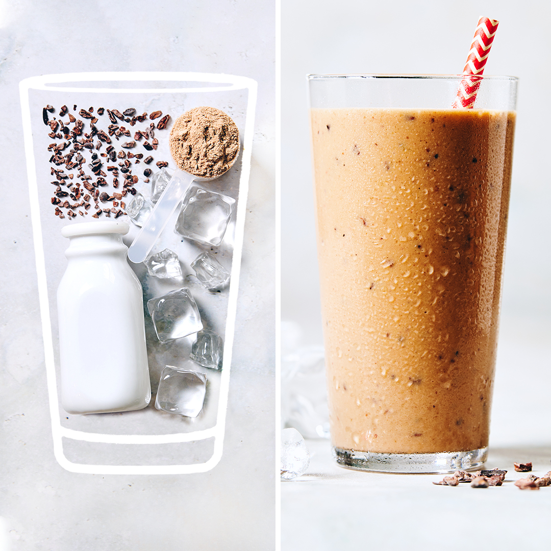 vegan keto chocolate shake - before and after picture