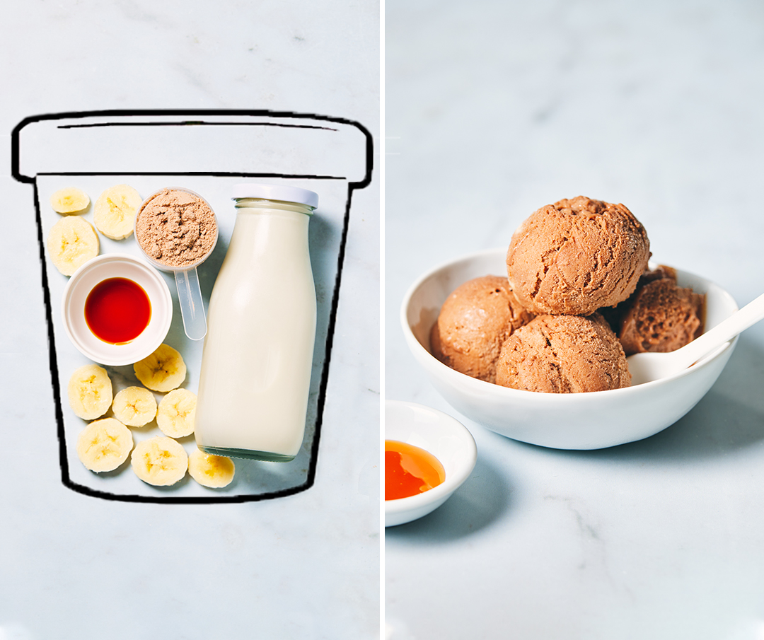 chocolate caramel ice cream - before and after image