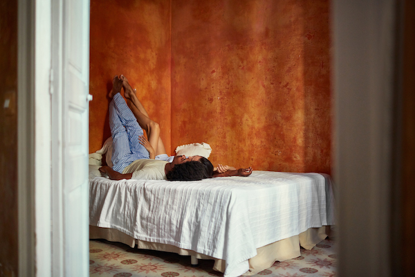sleep meditation - couple with legs on wall