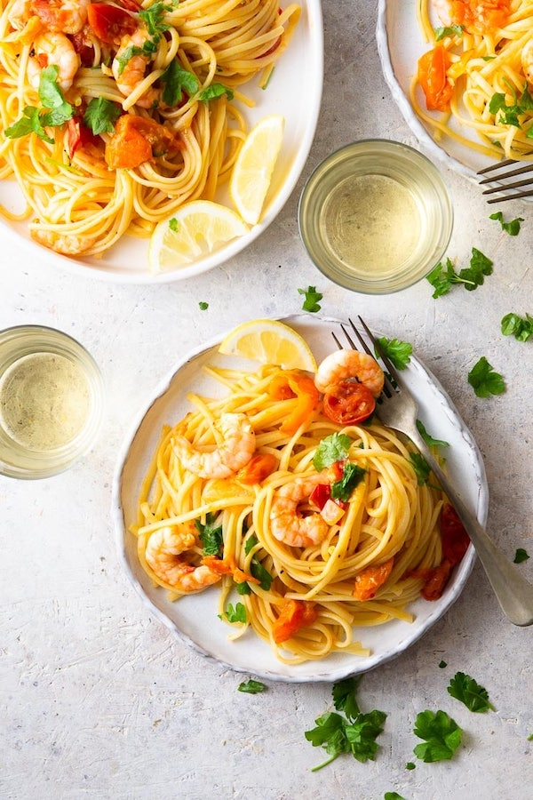 shrimp recipes - linguine