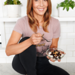 Michele sitting on counter with food | sugar free 3 approved stevia monk fruit