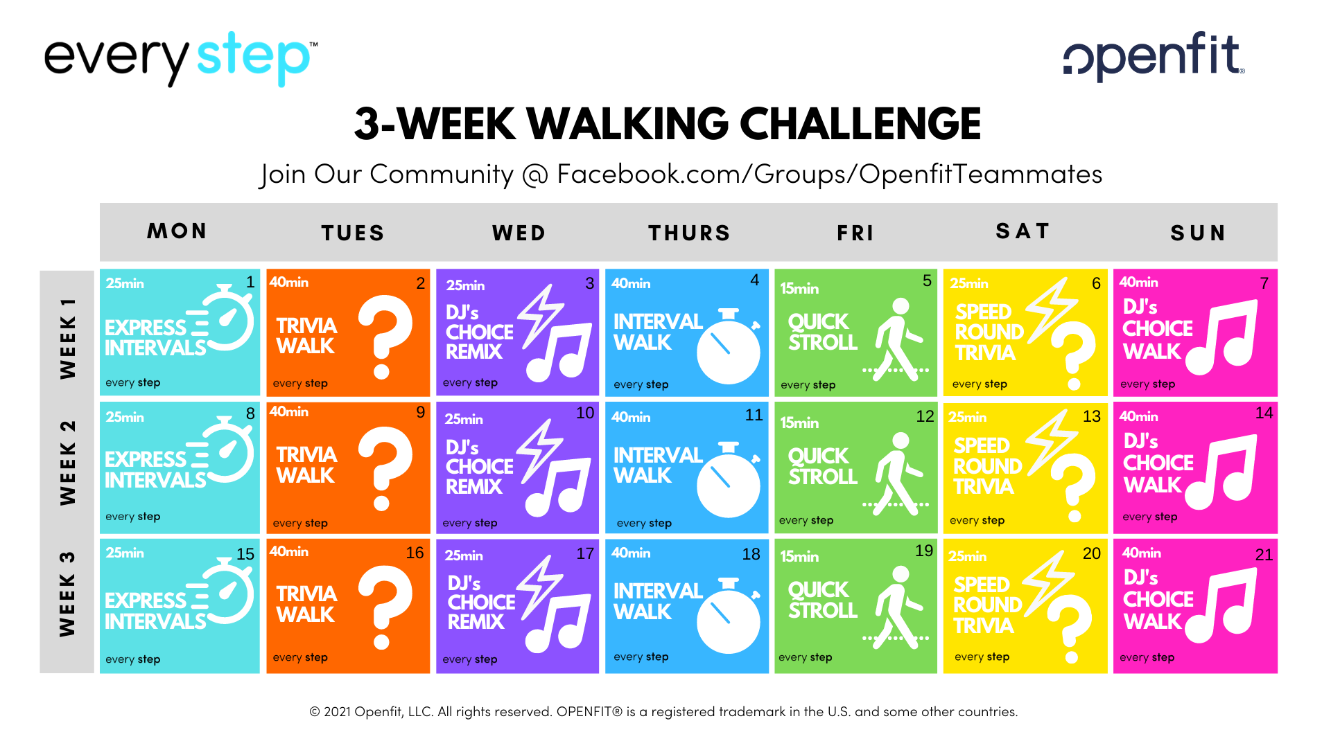 every step live challenge march calendar | every step