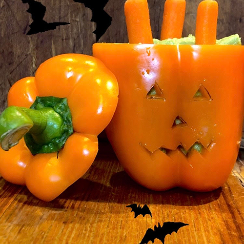 carved pepper pumpkin | alternatives to trick or treating