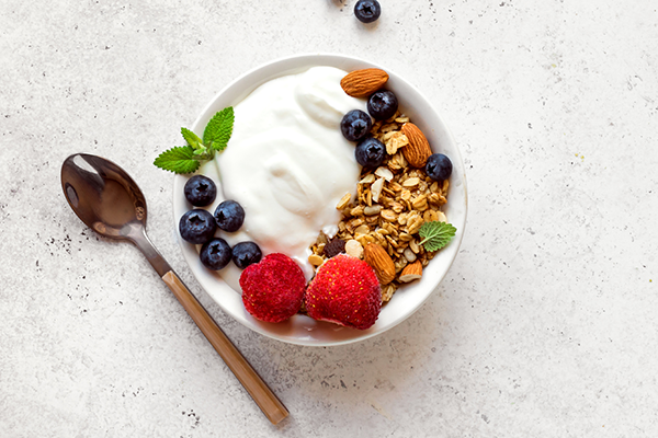 bowl of yogurt with fruits and granola | nutrition questions answered