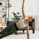 woman doing workout on yoga mat   beginner workout at home without equipment
