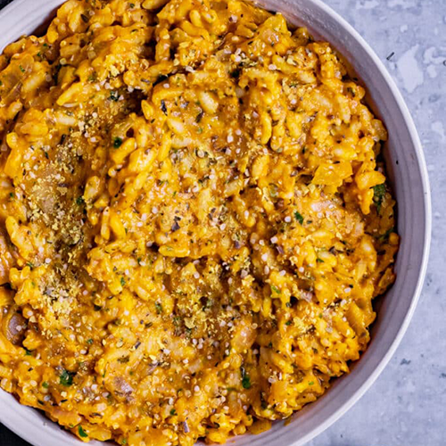 bowl of vegan pumpkin risotto | vegan thanksgiving sides