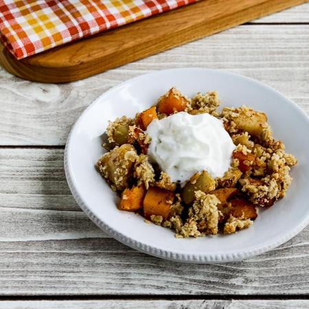 bowl of pumpkin apple crumble | low sugar thanksgiving desserts
