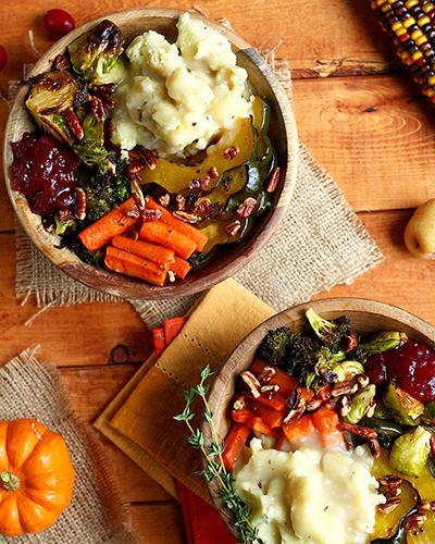 vegan cranberry thanksgiving bowls | cranberry thanksgiving
