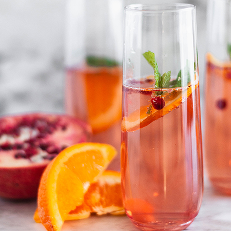 cup of champagne punch | cranberry thanksgiving