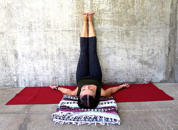 legs up the wall demonstration | yoga to reduce stress