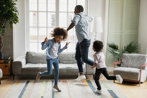 dad dancing with kids | how andrea rogers stays active with her kids