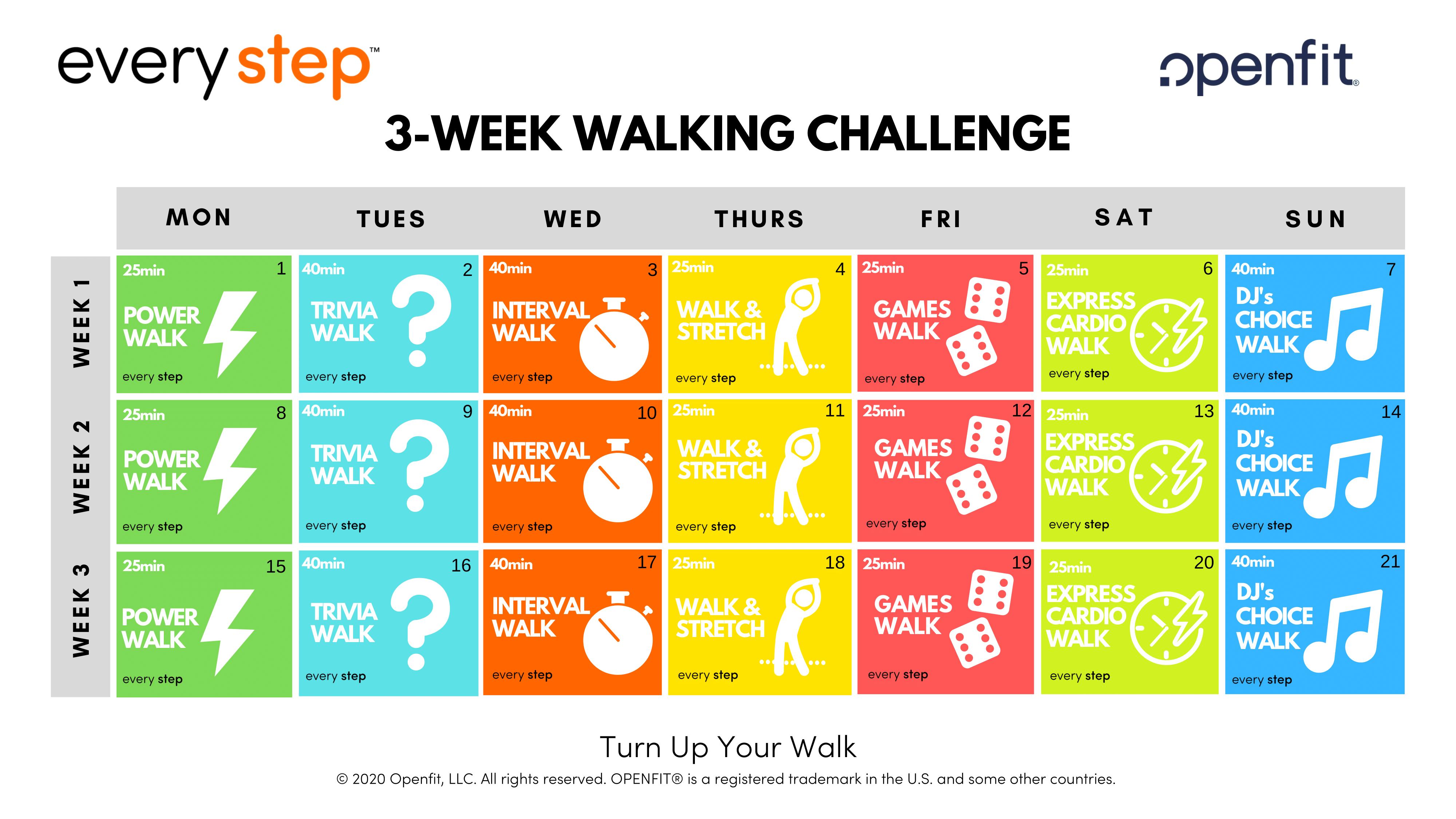 every step workout calendar - every step
