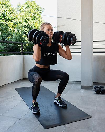 kelsey doing dumbbell squat | resilience training
