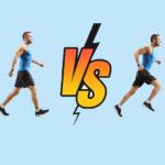 man walking vs man running on blue background   walking vs running