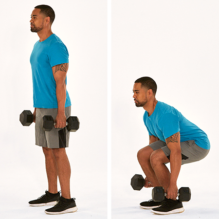 dumbbell squat demonstration | never miss a workout